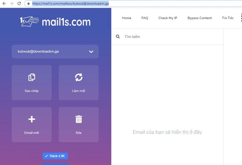 Khôi phục email 10p