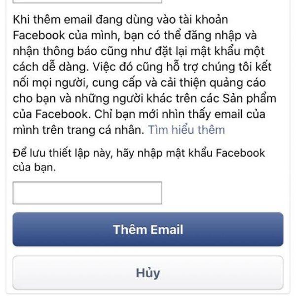 Cách thêm email vào facebook trên điện thoại